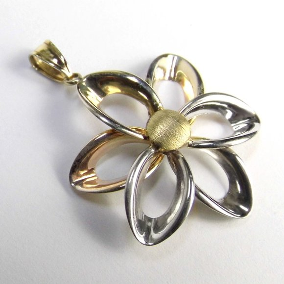 FLOWER Silver & filled 10K yellow GOLD Pendant